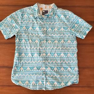 Turquoise and white short sleeve button up